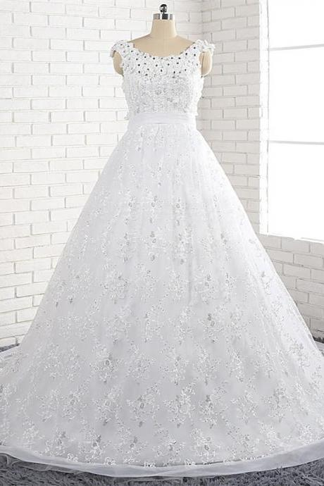 Elegant off shoulder V-back neckline fashion lace chapel train wedding bridal dresses